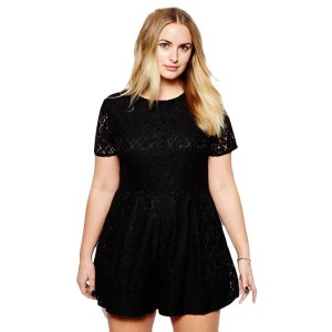 Plus Size Solid Lace Short Sleeve Women Black Jumpsuit