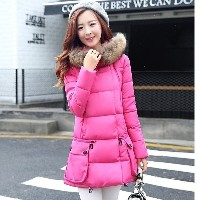 The new winter coat female Korean loose size thick warm fur collar long down jacket