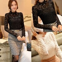Women Sheer Sleeve Embroidery Lace Crochet Chiffon Shirt Black/White