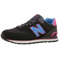 New Balance Womens WL574 Outside In Pack Classic Running Shoe  Black/Blue  8.5 B US