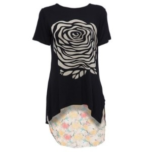 Stylish Scoop Collar Short Sleeve Floral Print Asymetrical Plus Size Women s T-Shirt