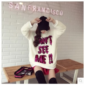 2017 spring new Korean version of the wild sequins letters plush sweater girls by age coat