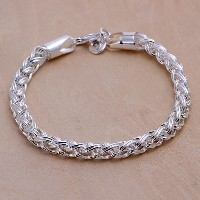 Cool Fashion Women's 925 Silver Plated Twisted Rope Chain Bracelet