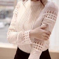 2016 New Fashion Spring Women Blouse Elegant Long Sleeve White Cotton Slim Crochet Hollow Lace Shirt