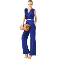 Elegant OL Style V-Neck Sleeveless Jumpsuits