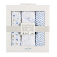 Hudson Baby Muslin Swaddle Blankets, Blue Feathers by Hudson Baby