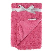 Soft Baby Girl Dark Pink Rosette Blanket by Blankets and Beyond