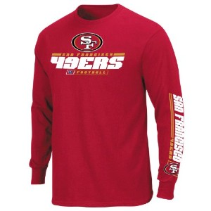 San Francisco 49ers Primary受信機IV Long Sleeve Tee by Majestic 3L レッド