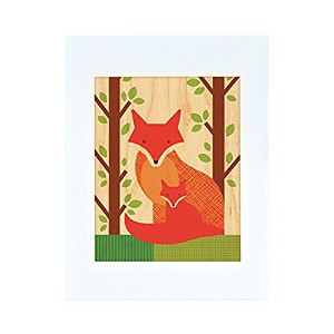 Petit Collage Unframed Print on Wood Wall Decor, Fox and Baby, Small by Petit Collage