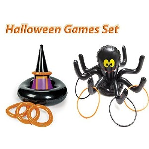 Halloween Inflatable Ring Toss Party Game Set , 1インフレータブルWitch Hat Ring Toss Game、with 1インフレータブルブラック...