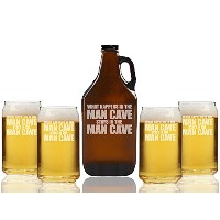 What Happens in the Man CaveビールAmber Growler and can glasses ( Set of 5 )