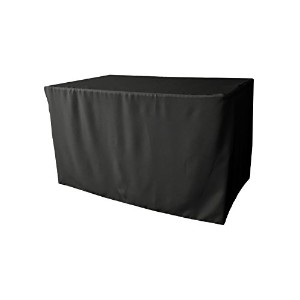 LA Linen Polyester Poplin Fitted tablecloth for 4-Foot Table, Black by LA Linen