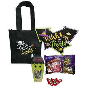 ハロウィン装飾 – Grandmas Trick or Treat Bundle : 4 items – バッグ、眼球ガム、サイン、Coffin with Gummie Eyeballs