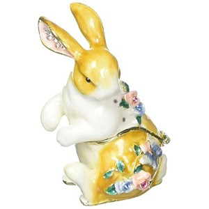 """Ciel Collectables 1013205A Rabbit with Flowers Trinketボックスwith Handセット、1.50"""" X 3"""" x 1.50"""""""