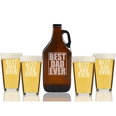 Best Dad EverビールAmber Growler and Pint Glasses ( Set of 5)