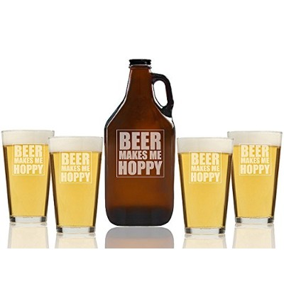 Beer Makes MeホッピービールAmber Growler and Pint Glasses ( Set of 5)