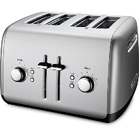 """Electric Toaster Kitchen Aid 4 Slice Extra Wide Chrome Buttons 1.5"""" Slot Metal電気トースターキッチンエイド4スライスエクス..."""