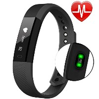 Fitness tracker、防水Activity Tracker with Heart Rate Monitor Bluetooth Smart Watchワイヤレススマートブレスレット睡眠監視歩...