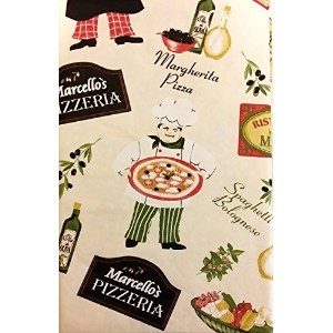 """Pizzeria Pictorial Flannel Backedビニールテーブルクロス 52"""" x 70"""" Oblong ベージュ"""