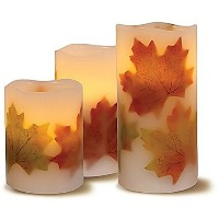 Flameless Candle LEDライトwith Decorative Fall Leaves