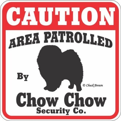 CAUTION AREA PATROLLED By Chow Chow Security Co. サインボード:チャウチャウ 注意 警戒中 セキュリティ 看板 Made in U.S.A ...