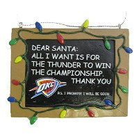 Oklahoma City Thunder公式NBA 3インチx 4インチ黒板Signクリスマスオーナメントby Forever Collectibles