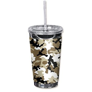 Mugzie 978-TGC 'Brown Camouflage' To Go Tumbler with Insulated Wetsuit Cover, 16 oz, Black [並行輸入品]