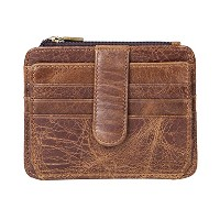Zhhlinyuan レザー Mens Women Soft Leather Small Card and Coin Purse Money Wallet Case Credit ID Card...