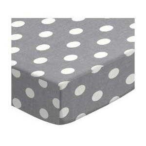 SheetWorld Fitted Square Playard Sheet 37.5 x 37.5 (Fits Joovy) - Polka Dots Grey - Made In USA by...