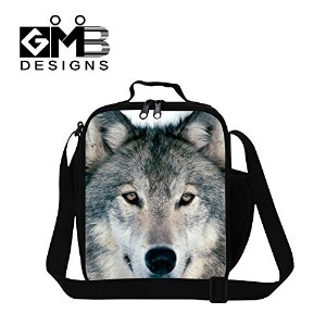 Generic Wolf Series Lunch Bags Pattern for Boys Mens Work Lunch Bag Stylish Food Bag by GIVE ME BAG
