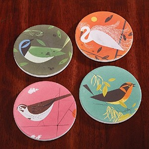 Charley Harper Feathered Friends吸収性ストーンコースターセット