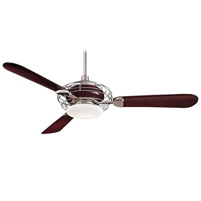 Minka-Aire F601-BS/MG, Acero, 52 Ceiling Fan with Light, Brushed Steel/Mahogany by Minka Aire