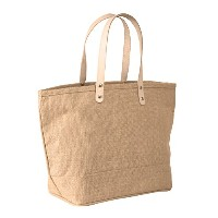 "Small Jute tote bag withレザーハンドルサイズ17.25 "" W x 10.5 "" H x 5.5 "" gusset- CarryGreenバッグ 64248Small-12..."