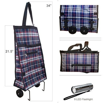 Foldable Shopping Cart Trolley Bag with Wheels & 9 LED Flashlight by GNA
