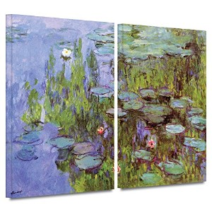 ArtWall Claude Monet 's Sea Roses 2 PieceギャラリーWrappedキャンバスセット 24x32 0mon035b2432w