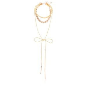 "Guess Womens Multi Row Choker with Woven Chain and Tie Frontネックレス 12""+2"""