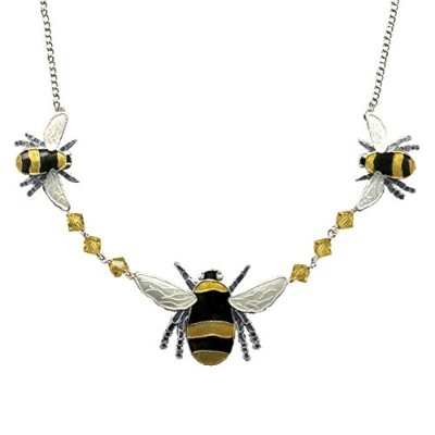 Bumble Bee Cloisonneクリスタルネックレス