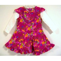 BABY NAY (ベビーネイ) [It's a Small World by Baby Nay] コーデュロイ ワンピース Slider Sleeve Corduroy Dress Red (5Y...