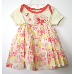 BABY NAY (ベビーネイ) [It's a Small World by Baby Nay] Short Sleeve Woven Skirted Onesie ショートスリーブ...
