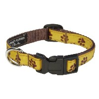Sassy Dog Wear 1/2 x 6-12 Puppy Paws Dog Collar, X-Small, Yellow/Brown by Sassy Dog Wear