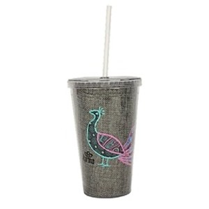 Peacock Bird Feather Insulated Tumbler with Straw