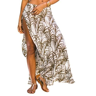 Omerker Womens Ethnic Print Maxi Skirt Wrapped Sexy Bathing Suit Cover up Dress for Women