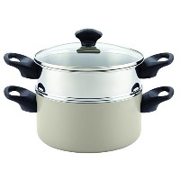 Farberware Dishwasher Safe NonstickアルミCovered Saucepot & Steamer挿入、3 Quartスタック' n ' Steam、アクア、3-qt...