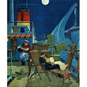 """Marmont Hill Romantic Night On Deck by Jamesウィリアムソン絵画印刷Wrappedキャンバス 29"""" x 24"""" MH-RETR-08-C-29"""