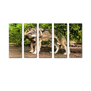 Moyi 5パネル壁アートWolf In Forestグリーンツリー絵画プリントキャンバス動物画像用ホーム装飾