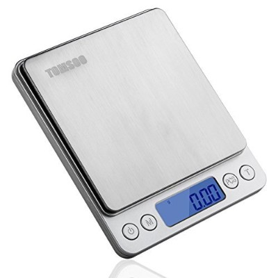 TOMSOO 0.01oz/0.1g 3kg Electronic Balance Digital LCD Display Pro Pocket Scale, Stainless Steel,...
