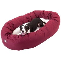 40 inch Burgundy & Sherpa Bagel Dog Bed By Majestic Pet Products by Majestic Pet