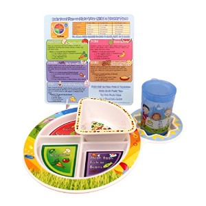 Fresh Baby 4-Piece Set of Plate, Bowl, Training Cup and Tip Card by Fresh Baby