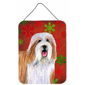 Caroline's Treasures LH9330DS1216 Bearded Collie Red Snowflakes Holiday Christmas Wall or Door...