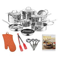 Cuisinart w99i-13 13個入りクラシック誘導ステンレススチール調理器具セット+ Cookbook、Measuring Spoons and More